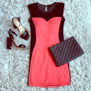 Sara Boo | Coral and Black Mesh Party Dress